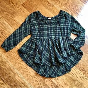 Anthropologie Holding Horses Plaid Peasant Top